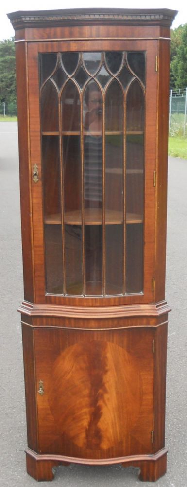 SOLD -Serpentine Front Mahogany Corner Cupboard by Reprodux